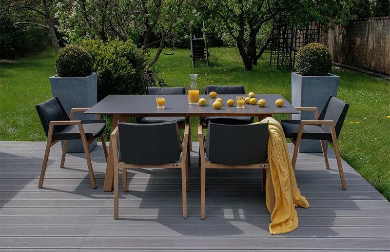 Komplet mebli ogrodowych CHIOS - stół i 6 foteli obiadowych firmy Borek
