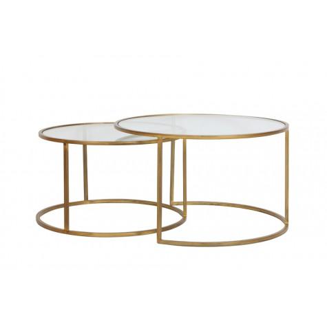 Komplet 2 stolików DUARTE 6725085 Ø75x44cm + Ø65x39cm